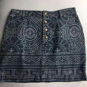 Free People Printed Button Up Denim Skirt